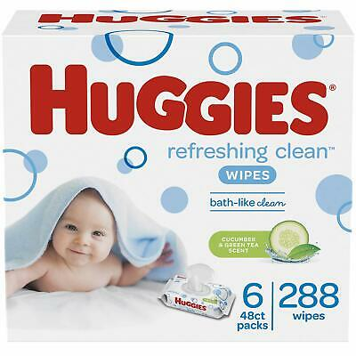 6Pack, 288 Sheets Total HUGGIES Refreshing Clean Baby Wipes Disposable Soft Pack