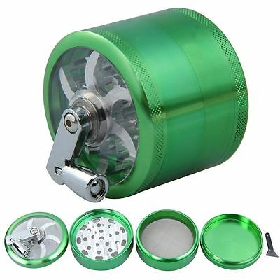 60 mm 4 layer Zinc Alloy Hand Crank Herb Mill Crusher Tobacco Smoke Grinder HICA