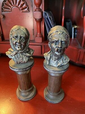Vintage Pair CAMUSSO OLD MAN AND WOMAN CAST BUST PERU Sterling Silver 925 Sailor