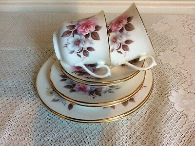 Vintage Queen Anne Pink Floral Two Trios with 2 Salad Plates .