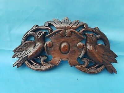 Antique French: Black Forest Pediments, Solid Oak, 19th, Carved Birds (4)