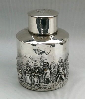 Vtg 1907 W G Keight Solid Silver Repousse Country Village Scene Tea Caddy Pot