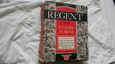 Regent World Stamp Album 1800's-mid 1900s 1,500+ Vintage Stamp Collection Lot DJ