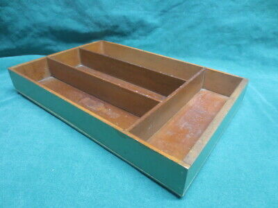Vtg/antique 1940's Wooden Farmhouse Kitchen Divided Flatware Tray Green