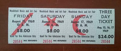 WOODSTOCK 1969 FULL TICKET Music and Art Fair 3 Day Aug.15-17/$24 MINT+ (28544)