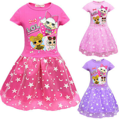 LoL Surprise Dolls Kids Girls Dress Costume Layered Mesh Princess Dresses 3-10Y