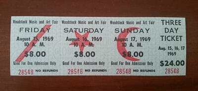 WOODSTOCK 1969 FULL TICKET Music and Art Fair 3 Day Aug.15-17/$24 MINT+ (28548)