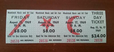 WOODSTOCK 1969 FULL TICKET Music and Art Fair 3 Day Aug.15-17/$24 MINT+ (28538)