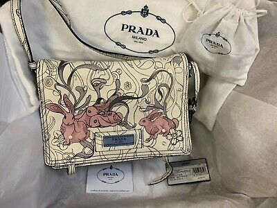 81137ba0a04fed NWT Prada x James Jean Small Bunny Rabbit Print Glace Etiquette Crossbody  Bag
