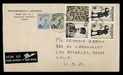 Dr Who 1956 Turkey Istanbul To Usa Multi Franked Air Mail C80811