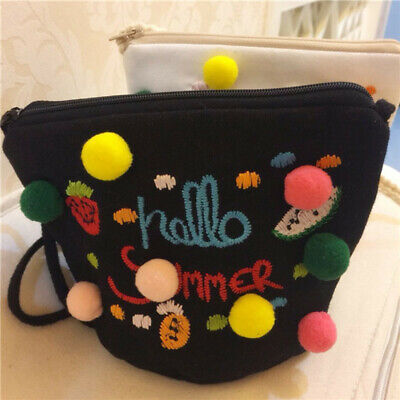 Women Cotton Handbag Mini Shoulder Crossbody Bag With Multi-color Plush Ball