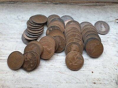 Old British Penny Coins Bronze Pennies x 50