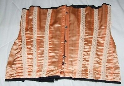 Vintage men's corset, peach satin with white lace trim and lacings