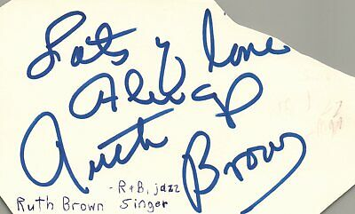 Ruth Brown R&B Jazz Singer Music Autographed Signed Index Card