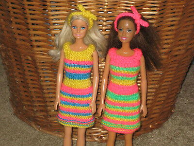 hand knitted Barbie doll clothes - dresses&hairbands - TWO OUTFIT BUNDLE
