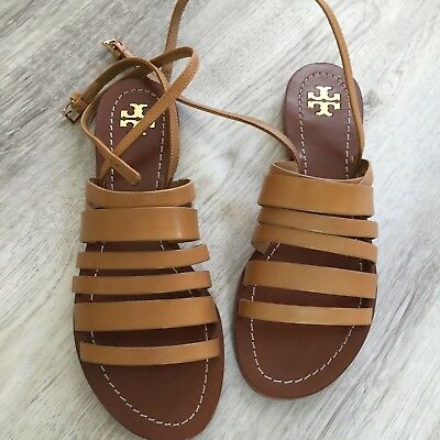dc85f014a80a3b Tory Burch Patos leather Strappy Ankle Sandals Gladiator Blond Tan Size 7