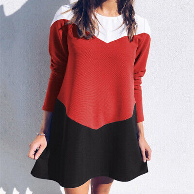 Women Round Neck Long Sleeve Colorblock Print Casual Party Mini Dress shan