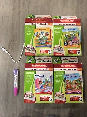 Leap Frog Tag Reader Pen With Complete Learn-to-Read Series 1-4 (25 Books) EUC!