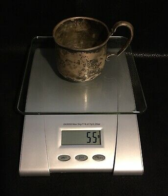 """STERLING SILVER Antique Vintage Baby Child Cup {55 Grams} Inscribed """"Candy"""""""