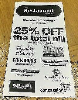 25% off The Total Bill Frankie & Benny's Chiquitos Restaurant Voucher no p&p