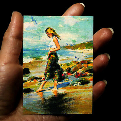 original hand painting acrylic modern miniature art ACEO woman picture signed