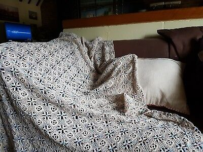 Vintage Crochet hand made Cotton Table Cloth, sofa cover 42 x 65 inches