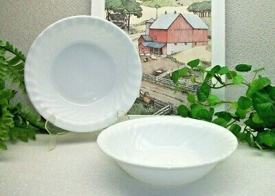 "2  Corelle Corning Ware  ENHANCEMENTS WHITE   7 1/4""  Cereal Soup or Salad Bowls"