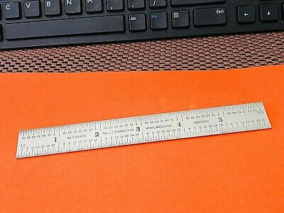 """STARRETT No.C604RE  6"""" Long Spring-Tempered Steel Rule With 4R Graduations. USA."""