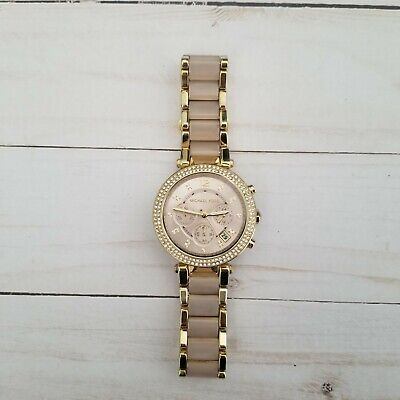EUC Michael Kors Parker Rose Gold Blush MK6326 Watch for Women Blush Crystal