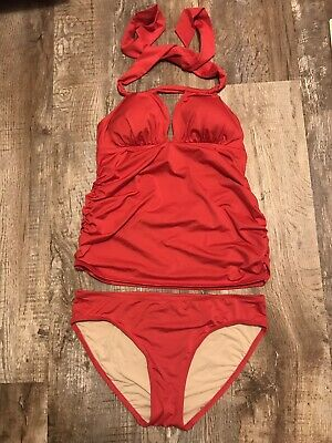 A PEA IN THE POD Maternity Tankini 2 Piece Red Halter Ruched Swim Suit Sz Large