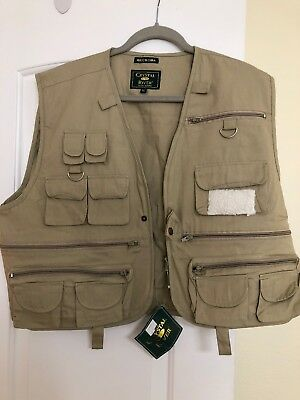 NEW Crystal River Deluxe Fly Fishing Men's Beige Vest Size XL Machine Washable