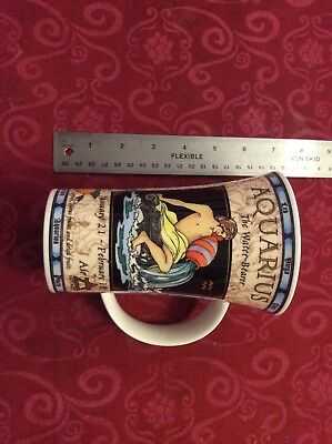 Dunoon Aquarius Tall China Mug Vgc February Birthday