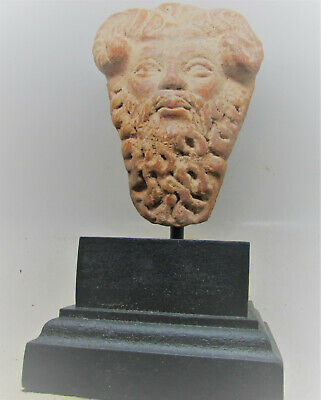 Hellenistic Greek Terracotta Statue Fragment Head Of A Satyr, Mounted