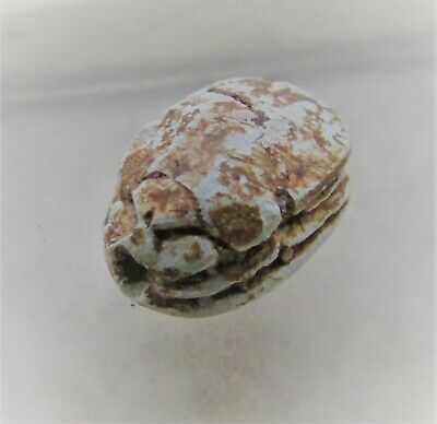 Rare Authentic Ancient Egyptian Faience Scarab Amulet Hyksos Scarab On Scarab