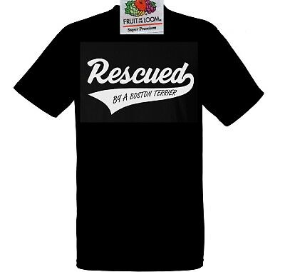 Boston Terrier Dog T Shirt Rescued