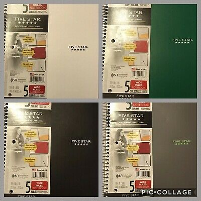 FIVE STAR SPIRAL Notebook 5 Subject Wide Ruled Paper 200