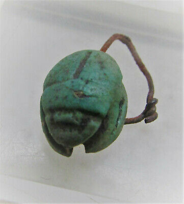Authentic Ancient Egyptian Faience Scarab Bead Seal Pendant Late Period