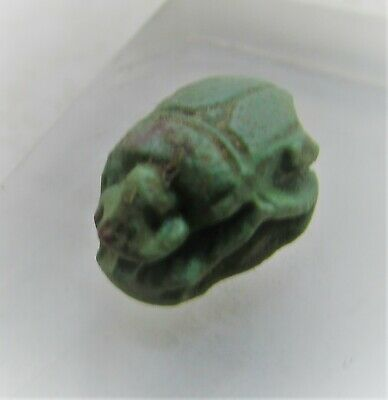 Beautiful Authentic Ancient Egyptian Jade Stone Scarab Amulet With Heiroglyphics