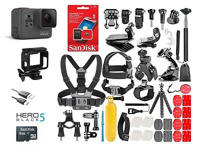 GoPro HERO5 Black Edition TouchScreen + 40 Pcs Sports Accessories Kit Bundle!