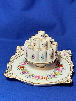 Carl Thieme hand painted Dresden Floral china cigarette holder