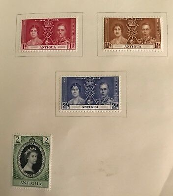 Antigua postage stamps King George Vl Elizabeth l and ll lot of 4 MLH