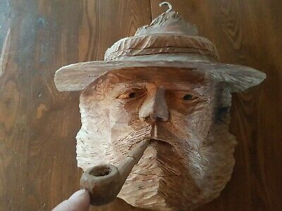 hand carved wood mountian man with pipe