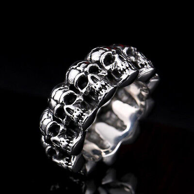 12MM Large Men's Round Skull Head Ring Stainless Steel Biker Punk Gothic Ring
