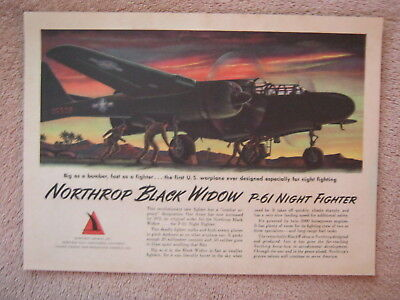 Vintage 1945 WWII Northrop P-61 Black Widow Army Night Fighter Aircraft Print Ad