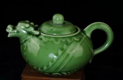 chinese old hand-made green glaze porcelain dragon carving porcelain teapot b02