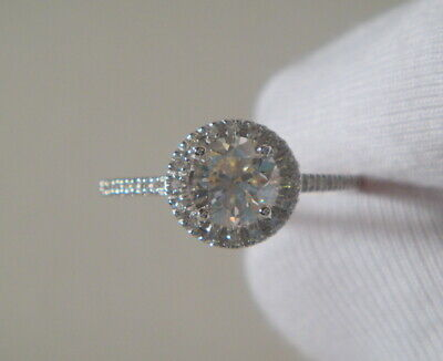 1.52 ct D SI1 Round Cut Diamond Halo Solitaire Engagement Ring 14K White Gold