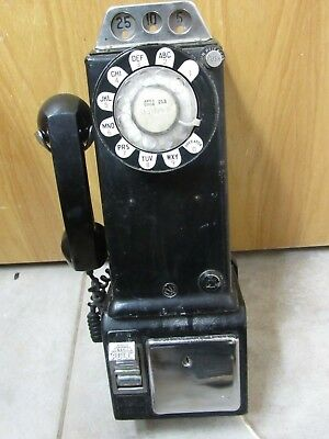 Vintage Western Electric Bell System Telephone Rotary 3 Coin Slot Pay Phone