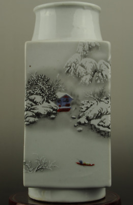 Chinese old famille rose porcelain snow-covered landscape pattern vase c01