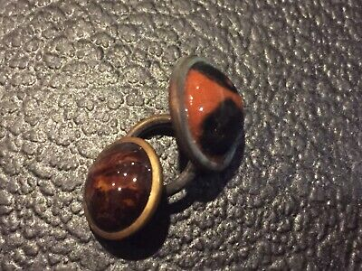 Lot of 2 mixed vintage brass & or  metal buttons with colored stone like design