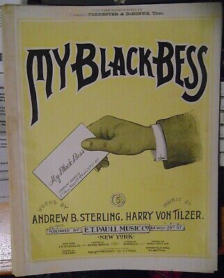 "Rare Early Black Americana Sheet Music 1899 ""MY BLACK BESS"""